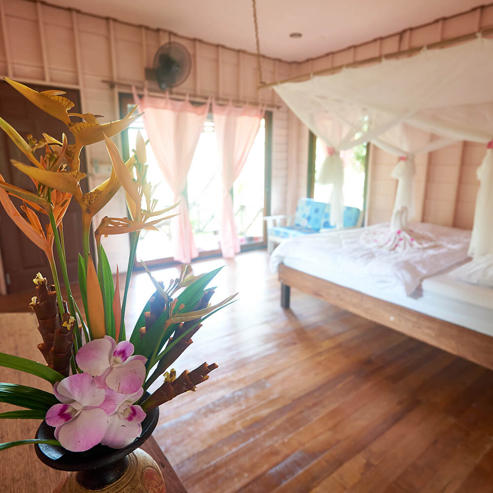 Accommodation in traditional Thai style bungalows